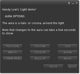 Cast light colour menu