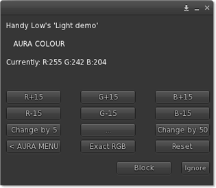 Aura colour menu