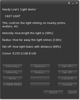 Cast light menu